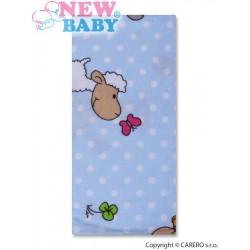 Flanelová plena s potiskem New Baby modrá s ovečkou a puntíkem