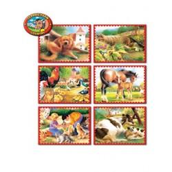 Skládací obrázkové kostky 12 ks zvířátka z farmy