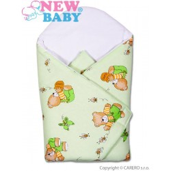 Dětská zavinovačka New Baby zelená s medvídkem, Zelená