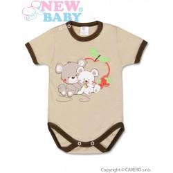 Dětské body s krátkým rukávem New Baby Myšky s jahůdkou, Hnědá, 86 (12-18m)