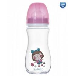 Antikoliková lahvička se širokým hrdlem Canpol Babies Easy Start - TOYS 300 ml - růžová
