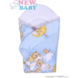 Dětská zavinovačka New Baby modrá s medvídkem, Modrá