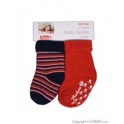Kojenecké froté ponožky Bobo Baby červené 2 páry, Červená, 62 (3-6m)