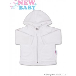 Kojenecký fleecový kabátek New Baby Kubík bílý, Bílá, 74 (6-9m)