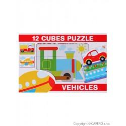 Skládací obrázkové kostky 12 ks vozidla