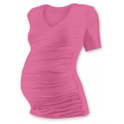 Těh. tričko kr. rukáv s výstřihem do V - růžové
