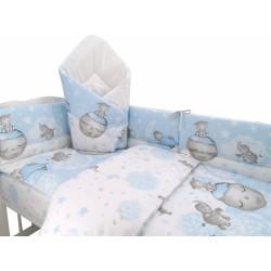 3-dílná sada mantinel s povlečením + zavinovačka zdarma - Baby Elephant, modrý
