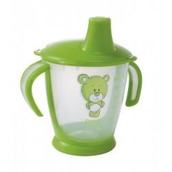 Nekapající hrneček Canpol Babies s úchyty Medvídek - zelený, 180 ml