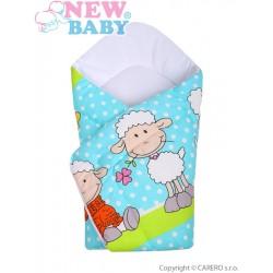 Dětská zavinovačka New Baby tyrkysová s ovečkou, Tyrkysová