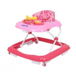Dětské chodítko Baby Mix s volantem a silikonovými kolečky růžové, Růžová