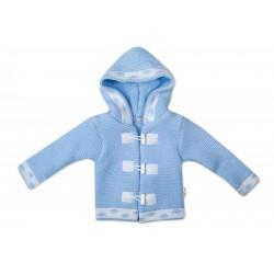 Baby Nellys Dvouvrstvý kojenecký svetřík s kapucí - modrý