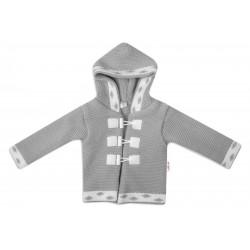 Baby Nellys Dvouvrstvý kojenecký svetřík s kapucí - šedý