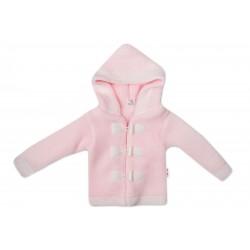 Baby Nellys Dvouvrstvý kojenecký svetřík s kapucí - růžový