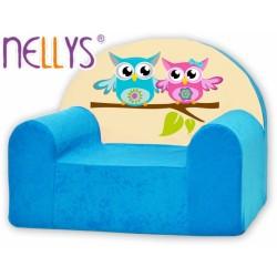 Náhradní potah na dětské křeslo Nellys - Sovičky Nellys modré