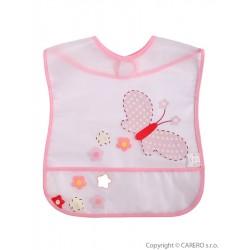 Dětský bryndák s kapsičkou Akuku s motýlkem, Růžová