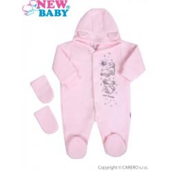 Fleecový overal New Baby Kamarádi růžový, Růžová, 56 (0-3m)