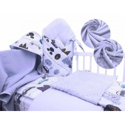 Baby Nellys 6-ti dílná výhodná sada s dárkem pro miminko, 120 x 90 cm - Auta v aleji-modrá
