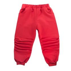Bavlněné tepláčky s kapsami Tlapka - červené