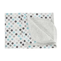 Dětská deka, dečka Bubble Boo,  80x90 - bavlna, šedá/tyrkys
