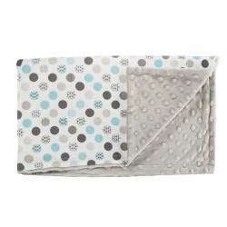 Dětská deka, dečka Bubble Boo, 75x90 - Minky/bavlna, tyrkys/šedá, minky - šedá