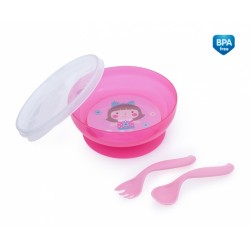 Uzaviratelná miska s lžičkou a vidličkou Toys - růžová