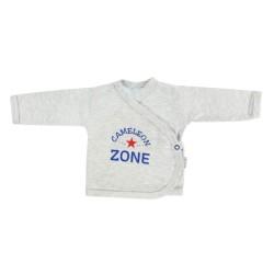 Novorozenecká košilka Chameleon - zapínání bokem, šedá