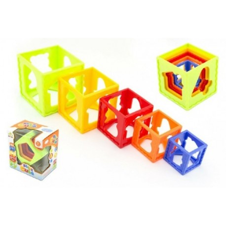 Kubus pyramida skládanka hranatá plast 5ks v krabičce 12m+