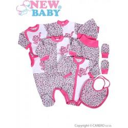 9-dílná souprava do porodnice New Baby Leopardík růžová