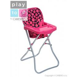 Jídelní židlička pro panenky PlayTo Dorotka růžová