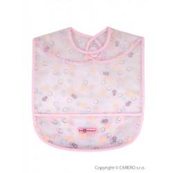 Dětský bryndák s kapsičkou Akuku růžový s bublinkami, Růžová