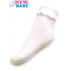 Kojenecké bavlněné ponožky s volánkem New Baby bílé, Bílá, 62 (3-6m)
