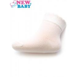 Kojenecké ponožky se vzorem New Baby bílé, Bílá, 56 (0-3m)