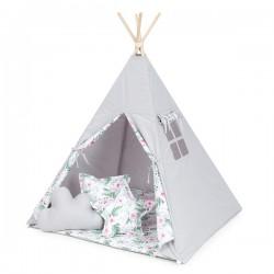 Stan pro děti teepee, týpí bez výbavy - šedý / růžová zahrada