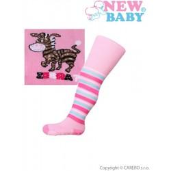 Bavlněné punčocháčky New Baby s ABS růžové zebra