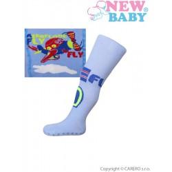 Bavlněné punčocháčky New Baby s ABS  modré fly