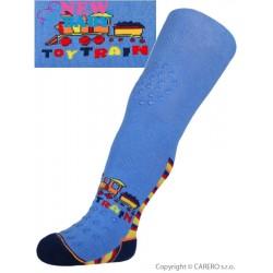 Bavlněné punčocháčky New Baby 3xABS modré toy train, Modrá, 80 (9-12m)
