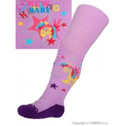 Bavlněné punčocháčky New Baby 3xABS fialové karino, Fialová, 68 (4-6m)