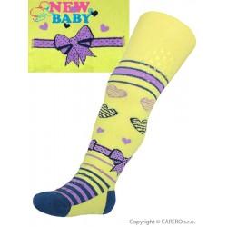 Bavlněné punčocháčky New Baby 3xABS žluté s mašličkou, Žlutá, 68 (4-6m)