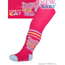 Bavlněné punčocháčky New Baby 3xABS růžové happy cat, Růžová, 68 (4-6m)