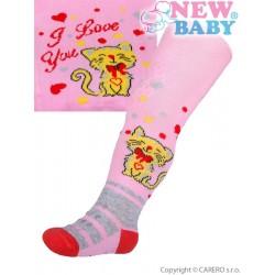 Bavlněné punčocháčky New Baby 3xABS světle růžové s kočičkou, Světle růžová, 80 (9-12m)