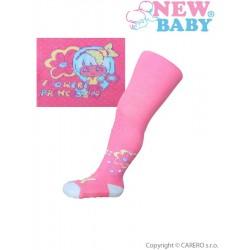 Bavlněné punčocháčky New Baby 3xABS růžové flower princess, Růžová, 80 (9-12m)