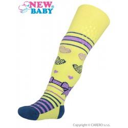 Bavlněné punčocháčky New Baby 3xABS žluté s mašličkou