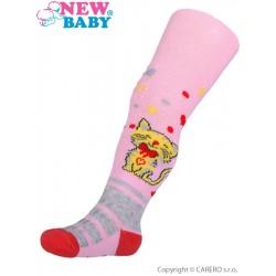 Bavlněné punčocháčky New Baby 3xABS světle růžové s kočičkou
