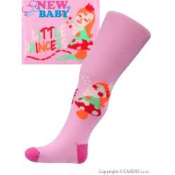 Bavlněné punčocháčky New Baby růžové little princess, Růžová, 80 (9-12m)