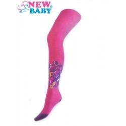 Bavlněné punčocháčky New Baby růžové s kytičkami, Růžová, 104 (3-4r)