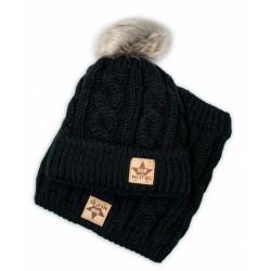 BABY NELLYS Zimní pletená čepice s bambulí + komínek, černá