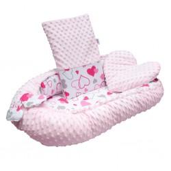 Luxusní hnízdečko s polštářkem a peřinkou New Baby z Minky růžová srdíčka, Růžová
