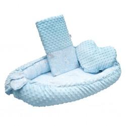 Luxusní hnízdečko s polštářkem a peřinkou New Baby z Minky Králíčci modré, Modrá