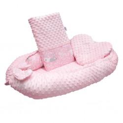 Luxusní hnízdečko s polštářkem a peřinkou New Baby z Minky Králíčci růžové, Růžová