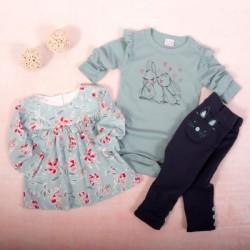 K-Baby 3 dílná sada - 1x body dlouhý rukáv, tunika, legíny, Zajíčci - mátová,granát